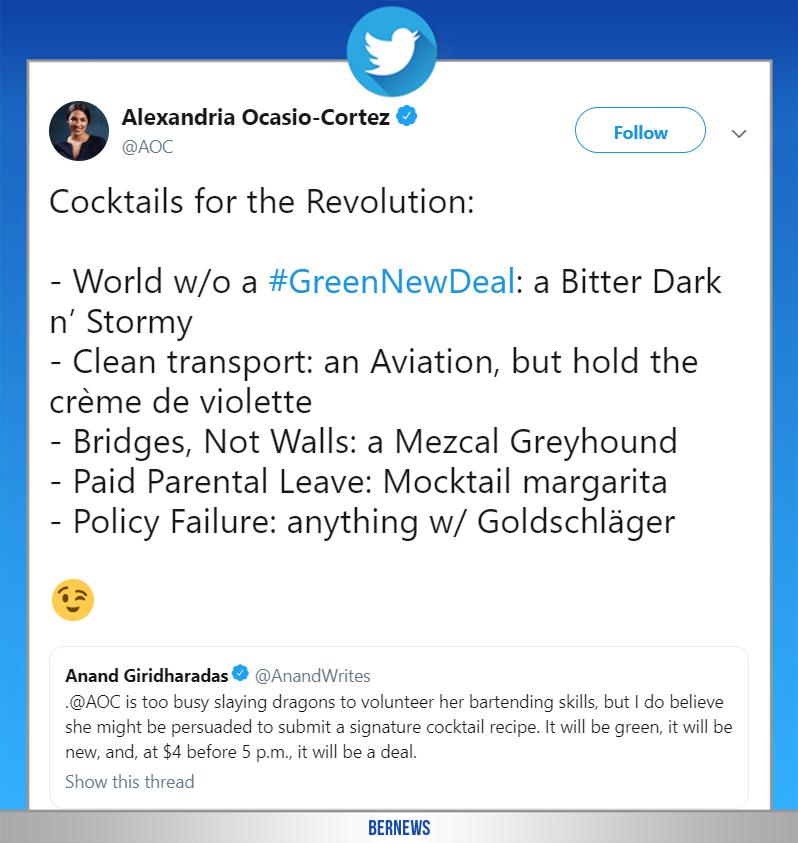 Alexandria Ocasio-Cortez tweet Bermuda Feb 11 2019