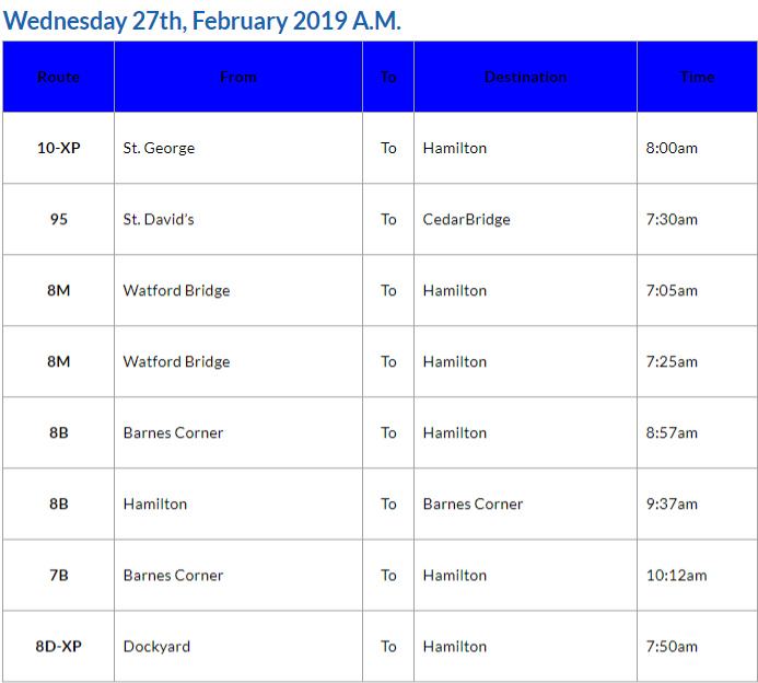 Bus Cancellations AM Bermuda February 27 2019