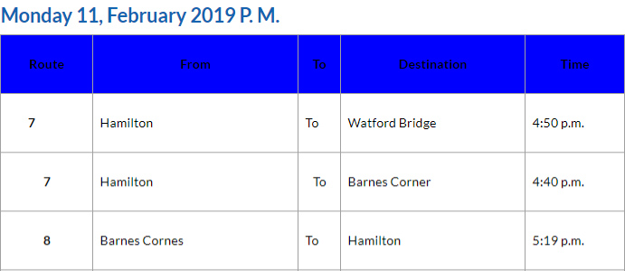 Bus Cancellations PM February 11 2019