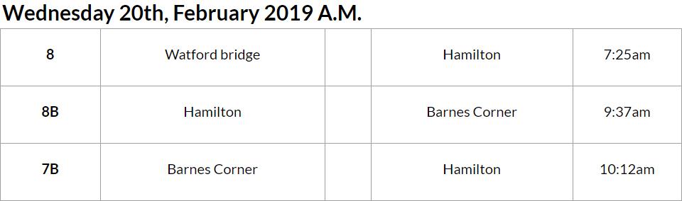Bus cancellations AM Bermuda Feb 20 2019