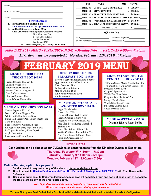 Food Box Bermuda February 2019 menu
