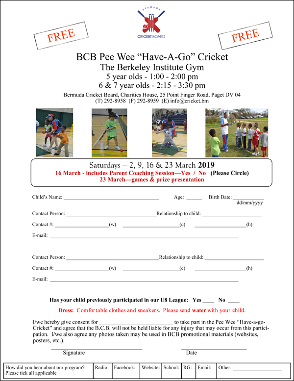 Pee Wee Registration Form Bermuda Feb 2019