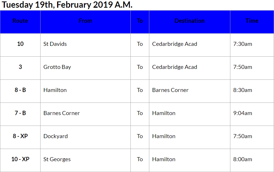 bus cancellations AM - Feb 19 2019