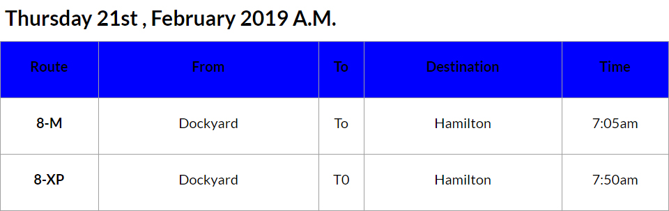 bus cancellations AM - Feb 21 2019