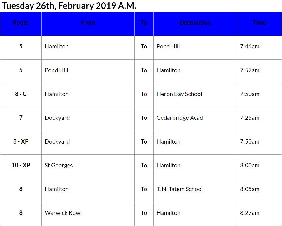 bus cancellations AM - Feb 26 2019