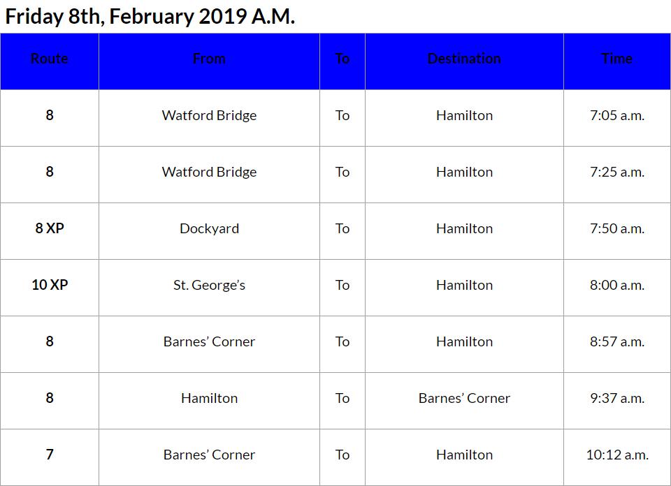 bus cancellations AM - Feb 8 2019