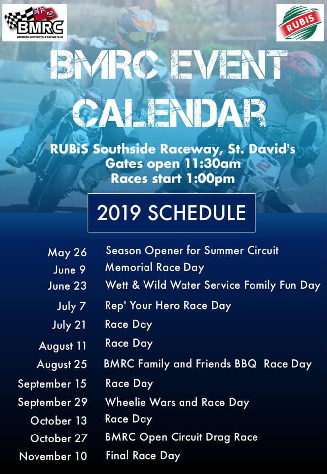BMRC 2019 Schedule Bermuda