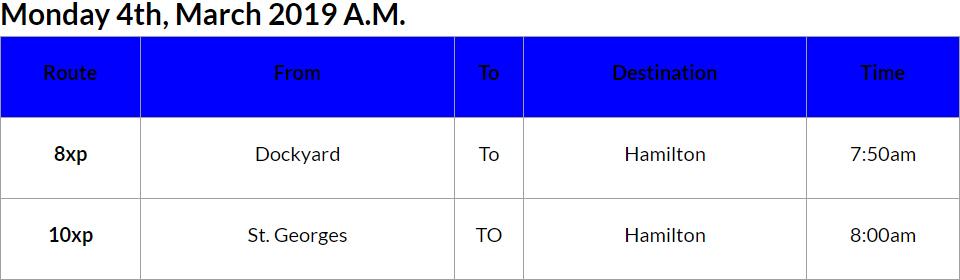 Bus cancellations AM Mar 4 2019
