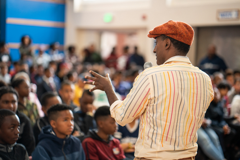 Marcus Samuelsson assembly at Dellwood Middle School, Bermuda March 2019 (10)