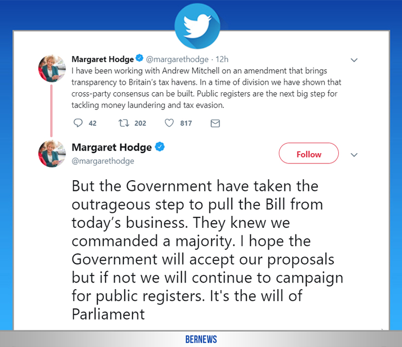 Margaret Hodge tweet Bermuda March 4 2019