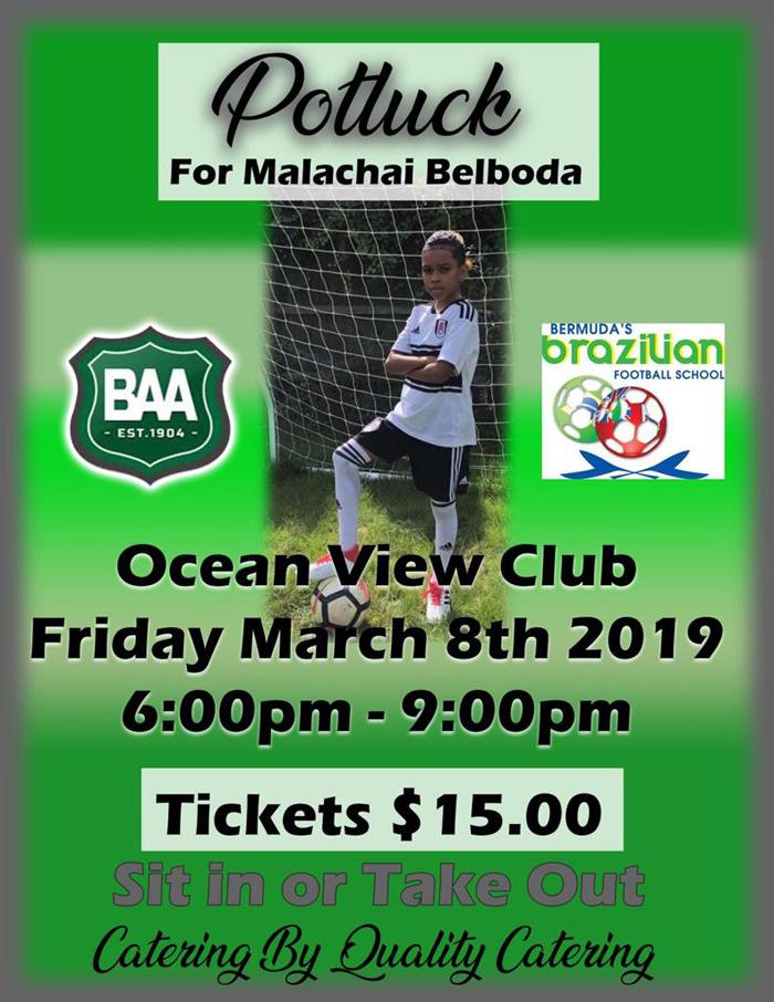 Potluck for Malachai Belboda Bermuda March 2019