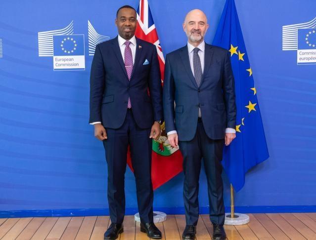 Premier David Burt meets with Pierre Moscovici Bermuda March 2019 (1)