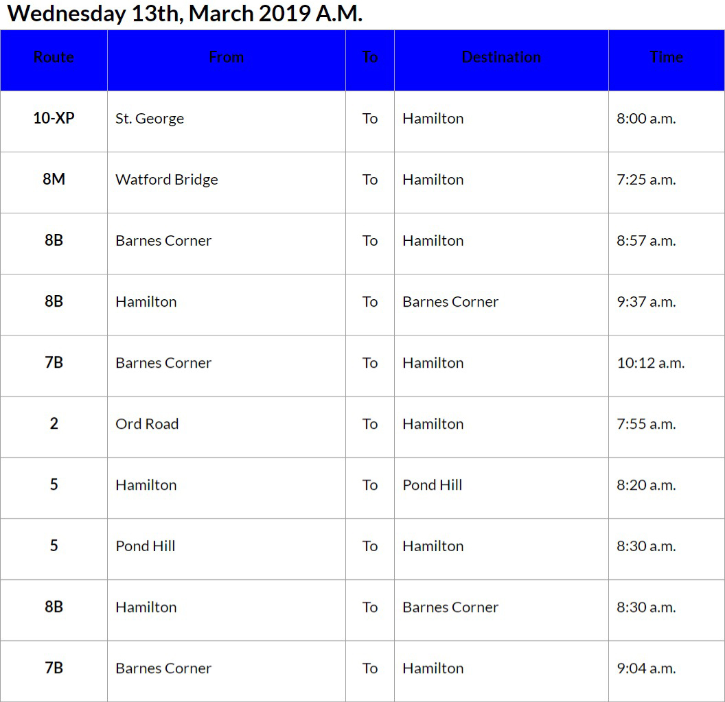 bus cancellations AM - March 13 2019