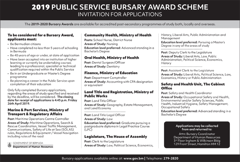 Bursary Award Bermuda April 2019