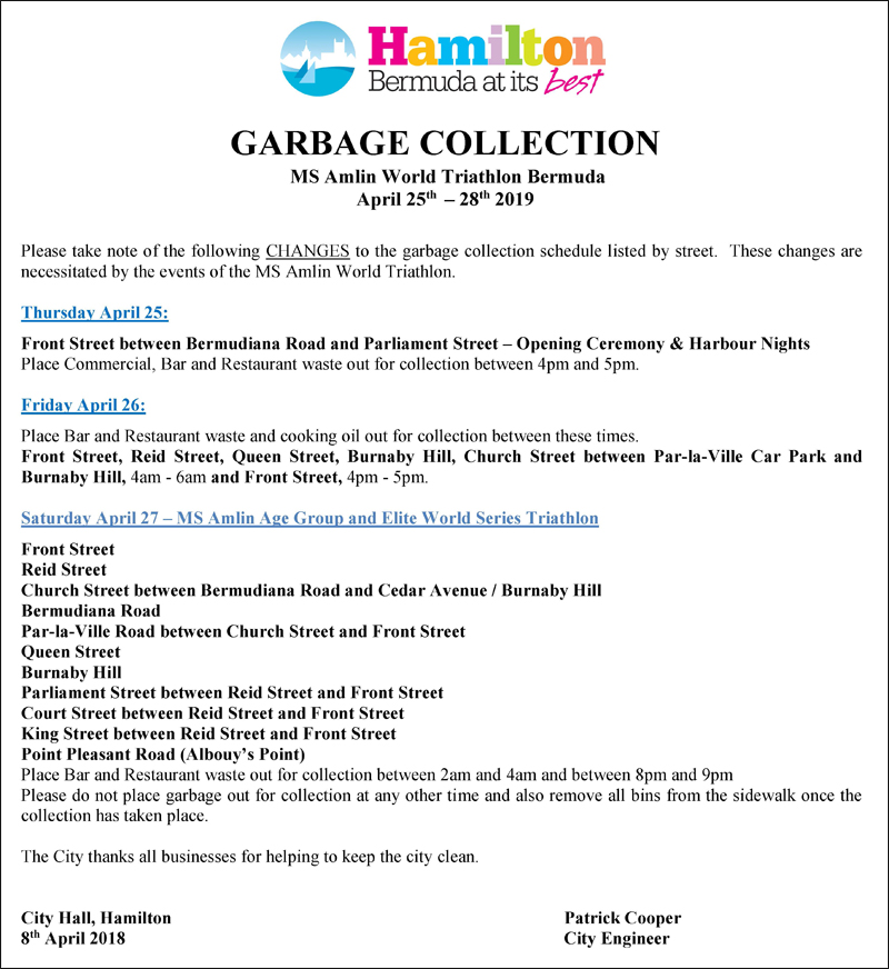 Triathlon Garbage  Collection Notice Bermuda April 2019