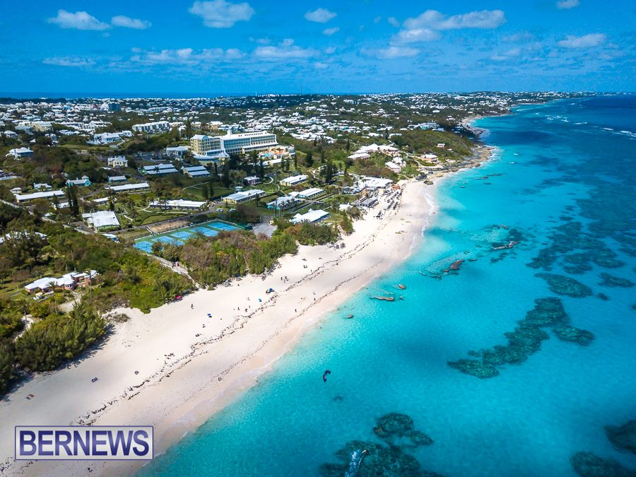 382 A beautiful view from the air of Elbow Beach and the south shore stretching to the east