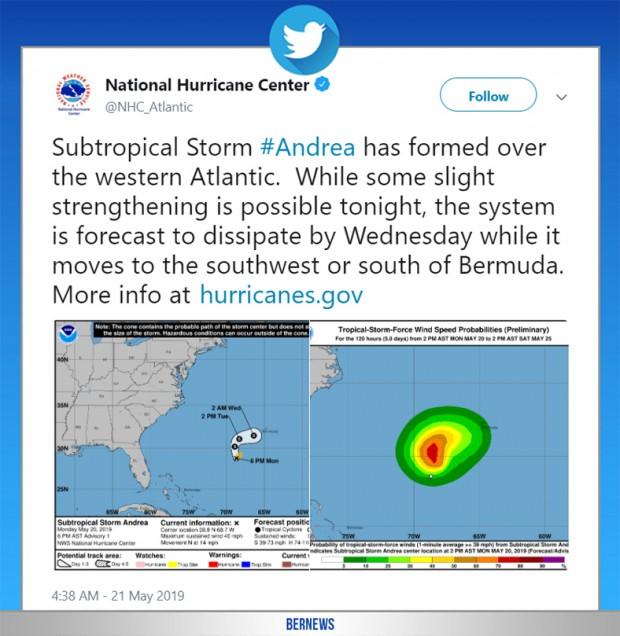 National Hurricane Center tweet May 20 2019