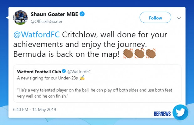 Shaun Goater tweet Bermuda May 14 2019