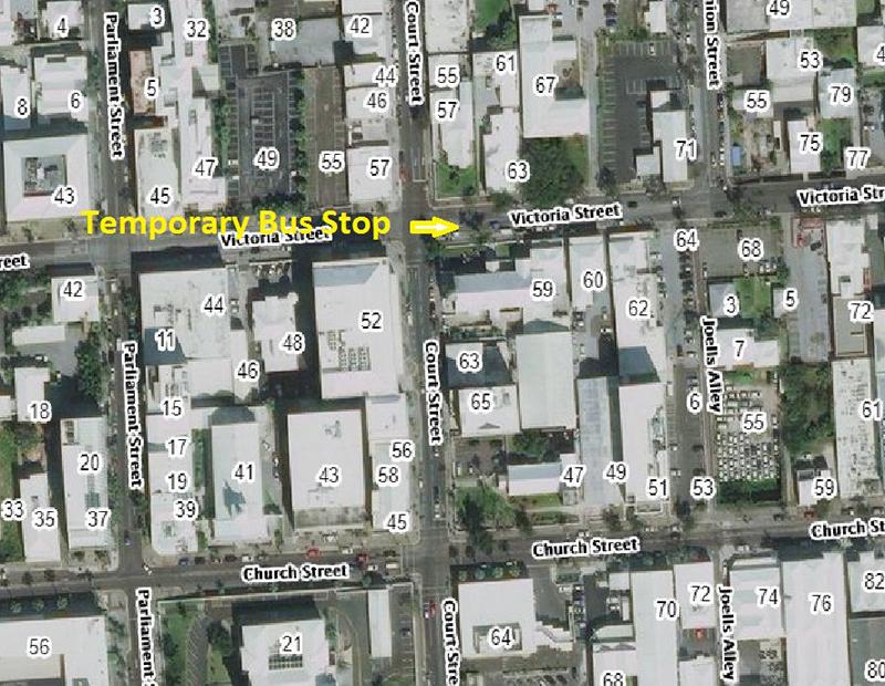 Temporary Bus Stop Location Bermuda May 23 2019