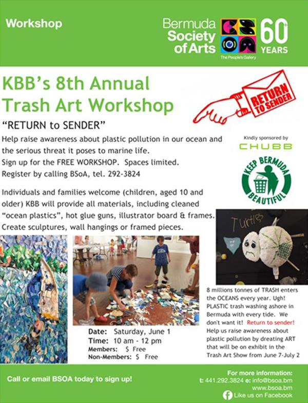 Trash Art Workshop Bermuda May 2019