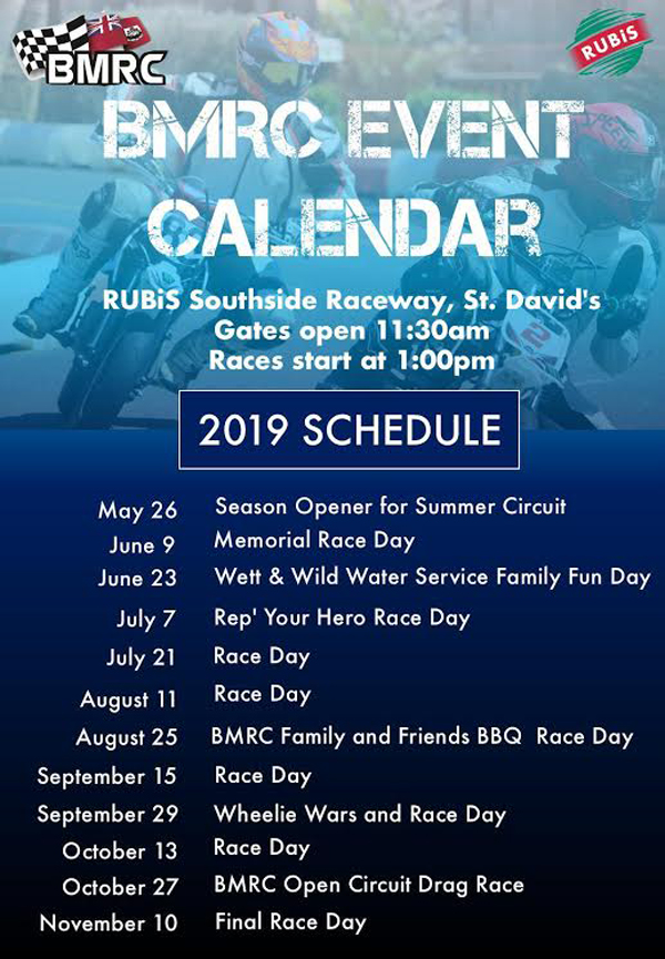 BMRC Race Schedule June 2019