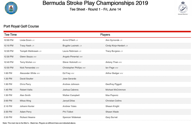 Bermuda Stroke Play Championships Tee Sheet June 2019