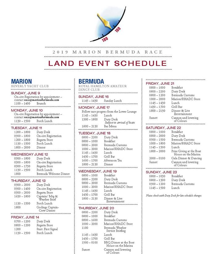 Marion Bermuda Race Land Event Schedule June 2019