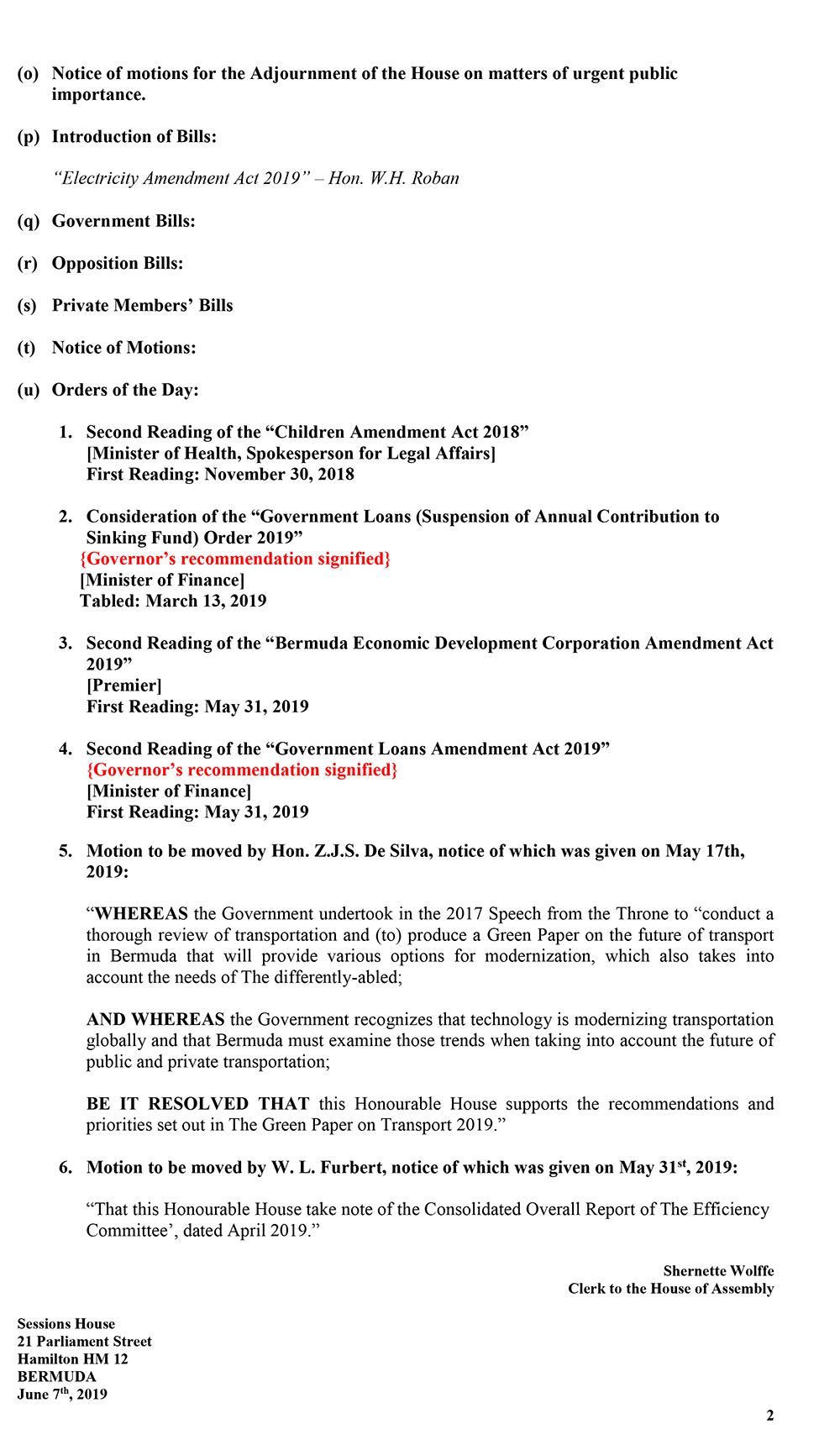 Order of Business Friday, June 7, 2019-2