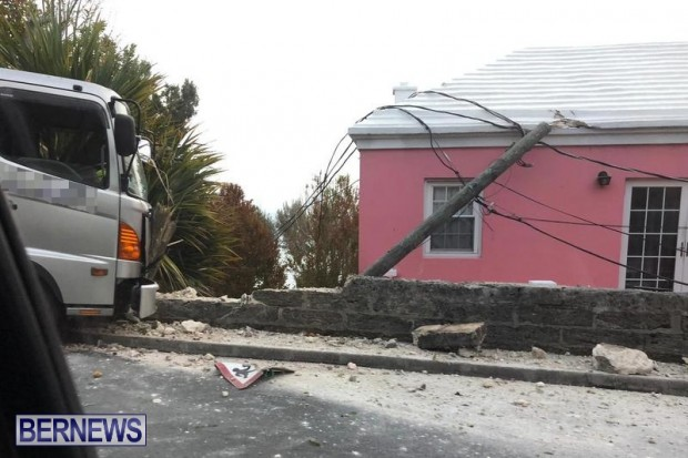 Sanitation Truck Wall Pole Collision Bermuda, June 1 2019