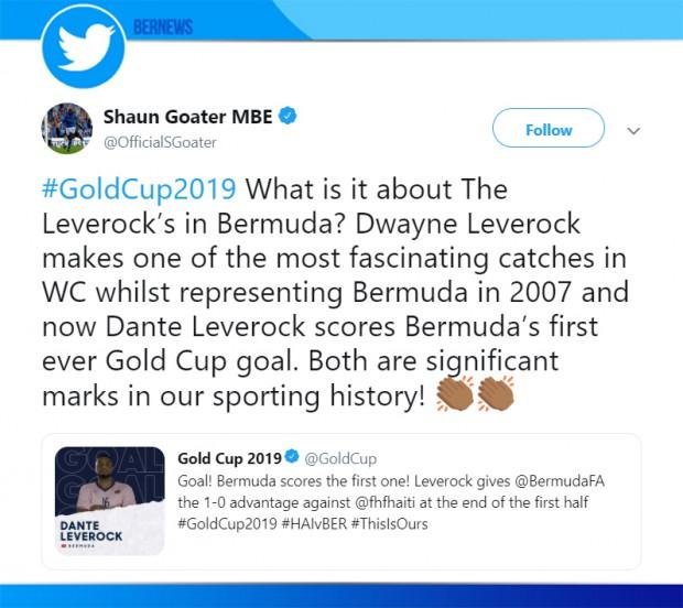 Shaun Goater MBE tweet Bermuda June 17 2019