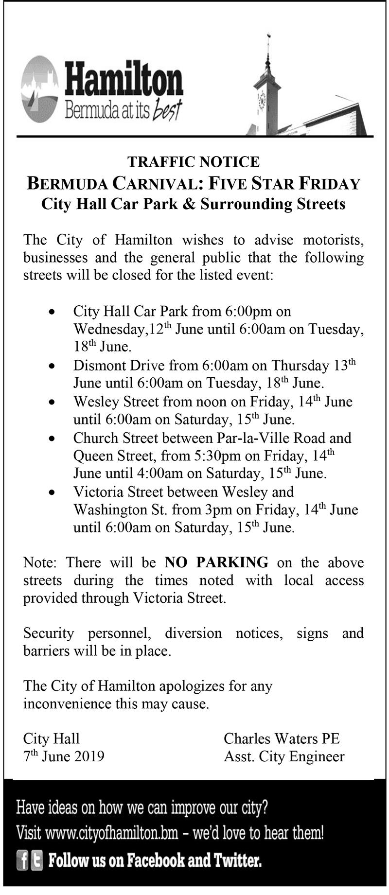 Traffic Notice - Bermuda Carnival Five Star Friday June 2019