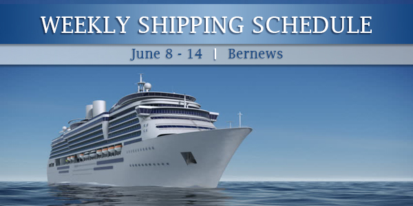 Weekly Shipping Schedule TC June 8 - 16 2019