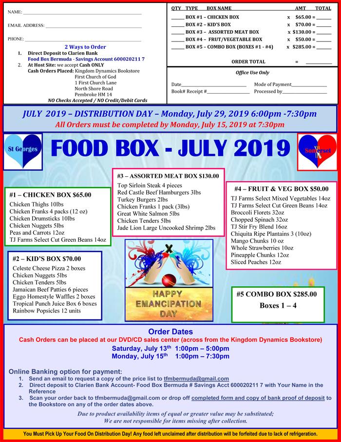 Food Box Bermuda July 2019 menu