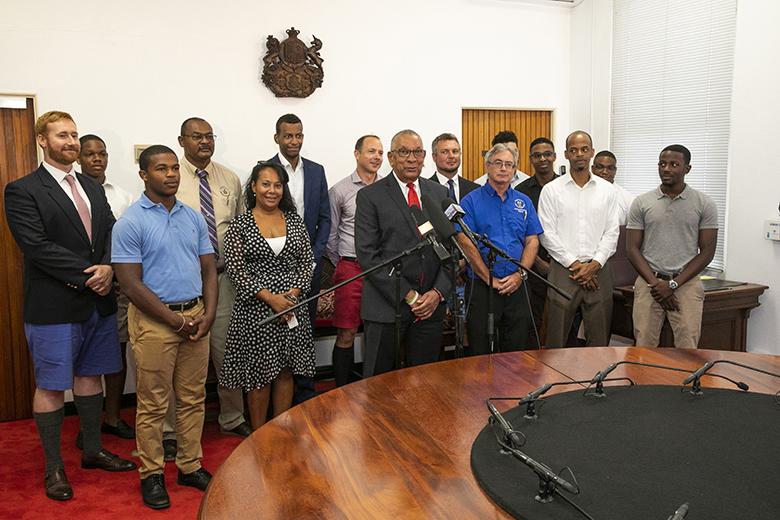 Minister David Burch press conference Bermuda July 26 2019