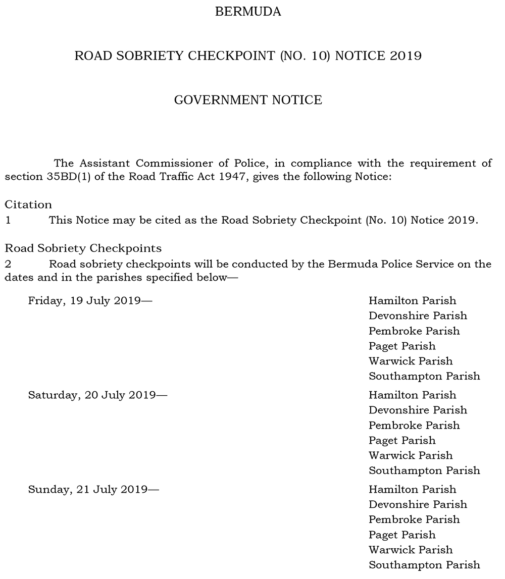 Road Sobriety Checkpoint (No. 10) Notice 2019
