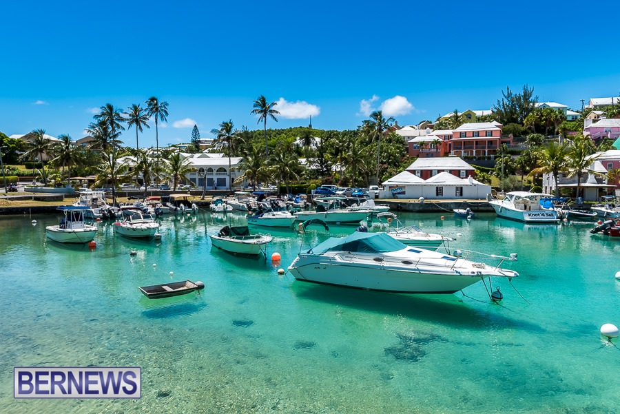 635 - Amazing blues and pastel buildings make Flatt's Inlet one of the most beautiful spots on the Island.