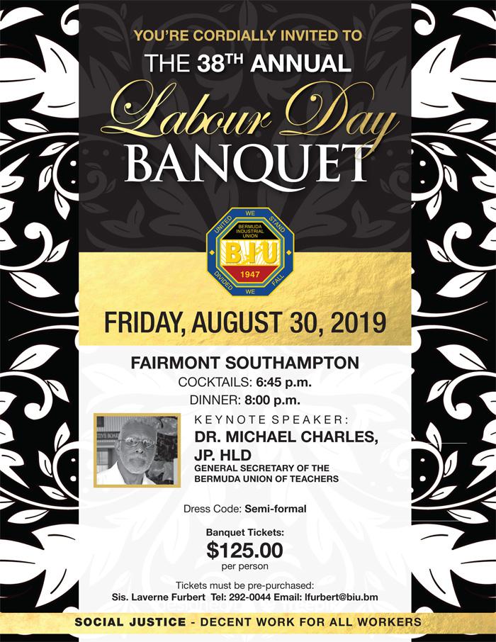 BIU Labour Day Banquet Bermuda August 2019