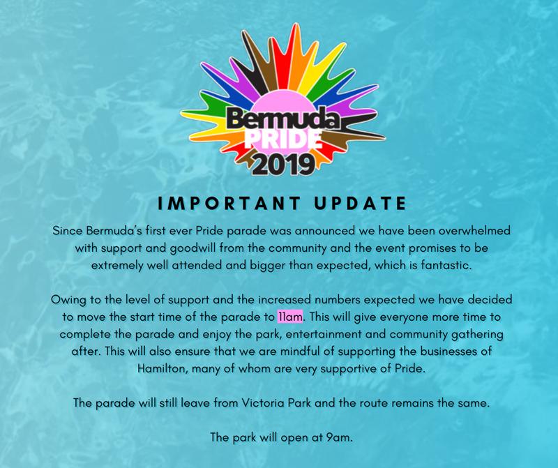 Bermuda Pride Important Update August 2019