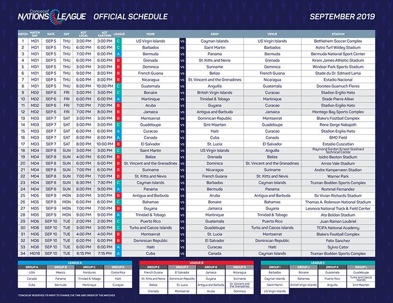 CNL Official Schedule Bermuda Aug 2019