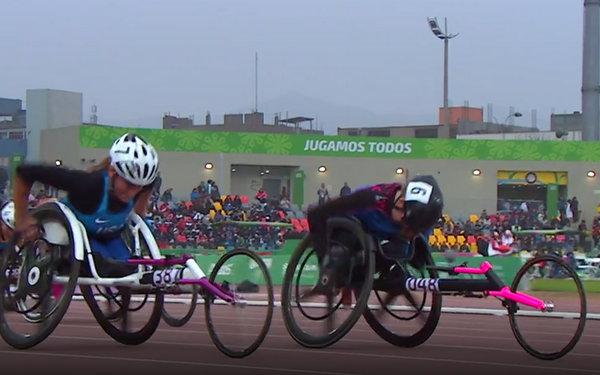 Jessica Lewis wins 100m gold 2019 Parapan (3)
