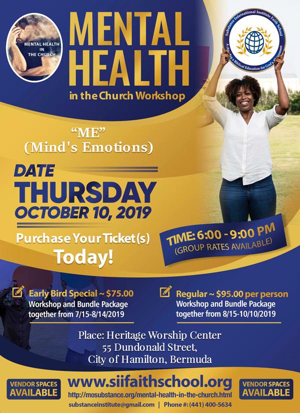 Mental Health in the Church Workshop Bermuda Aug 2019