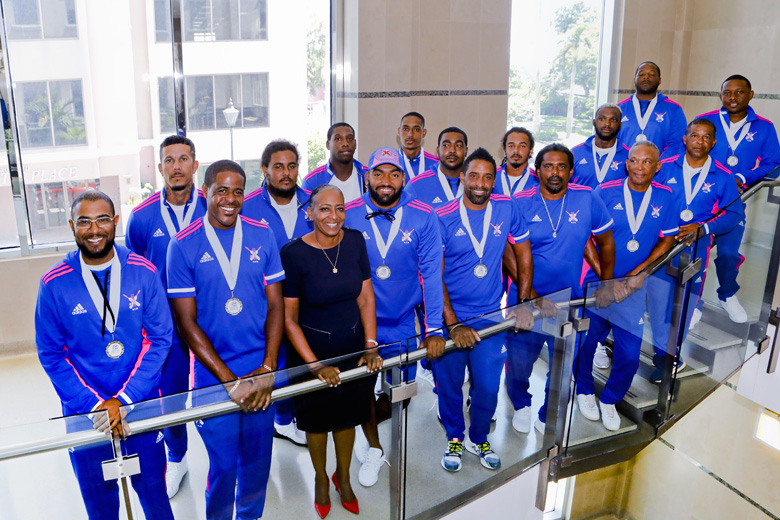 Minister Lovitta Foggo and Bermuda's National Cricket Team Aug 2019 (1)