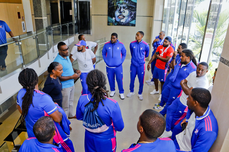 Minister Lovitta Foggo and Bermuda's National Cricket Team Aug 2019 (2)