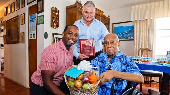 Premier Burt & Centenarian Walter James Seymour Bermuda Aug 2019
