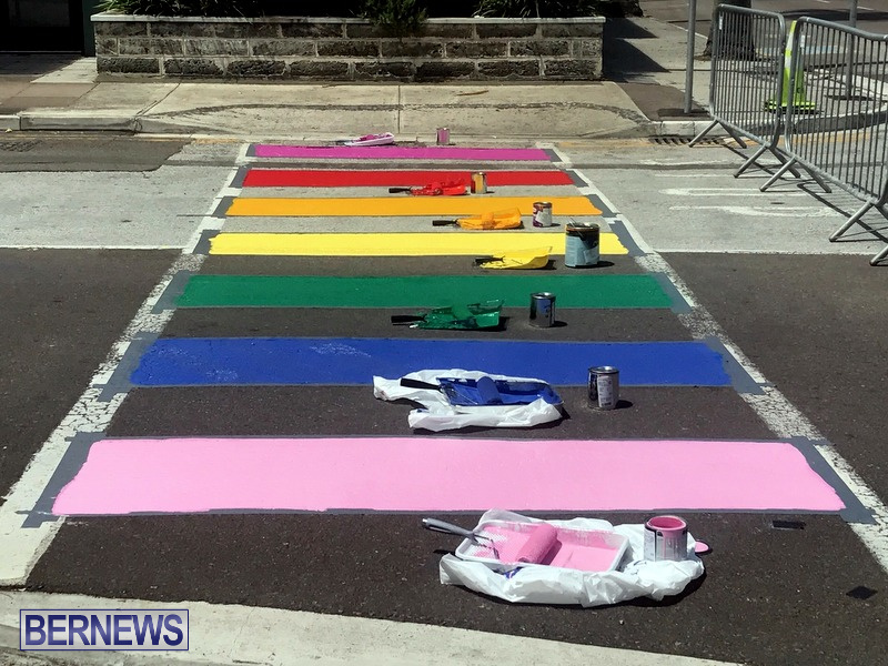 Rainbow coloured cross walks in Hamilton Bermuda August 2019 (1)
