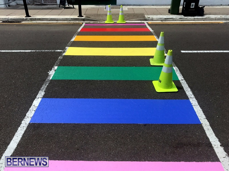 Rainbow coloured cross walks in Hamilton Bermuda August 2019 (11)