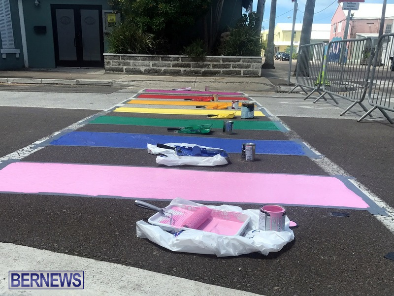 Rainbow coloured cross walks in Hamilton Bermuda August 2019 (4)