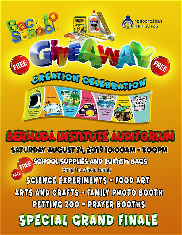 Restoration Ministries Back To School Give Away Bermuda Aug 2019