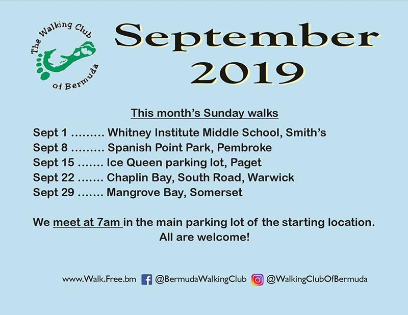 Walking Club Of Bermuda Schedule Aug 2019