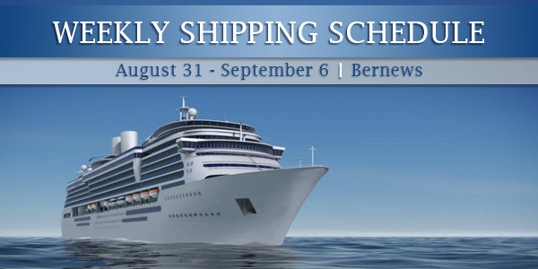Weekly Shipping Schedule TC Aug 31 - Sept 6 2019